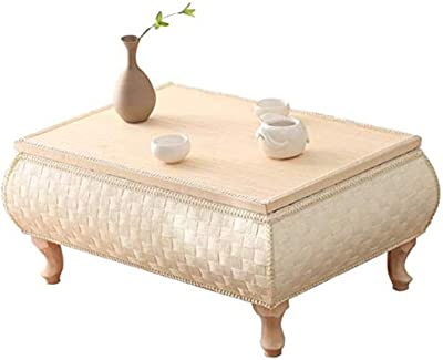 Rustic Straw Braided Japan Square Coffee Accent Table Storage with Wooden Legs, Large Vine Woven Tea Storage Organizer Case, Large,S