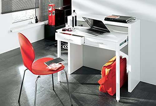 Skraut Home - Ausziehbarer Schreibtisch, Studio-Konsolentisch, Computertisch, 2 schubladen, Oberfläche glänzendes Weiß, 98,6x86,9x36- 70cm