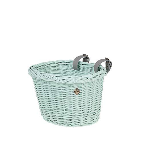 e-wicker24 Fahrradkorb für Kinder, Korb für Kinderfahrrad, Kleiner Fahrradkorb, Fahrradkorb aus Weide, Mint