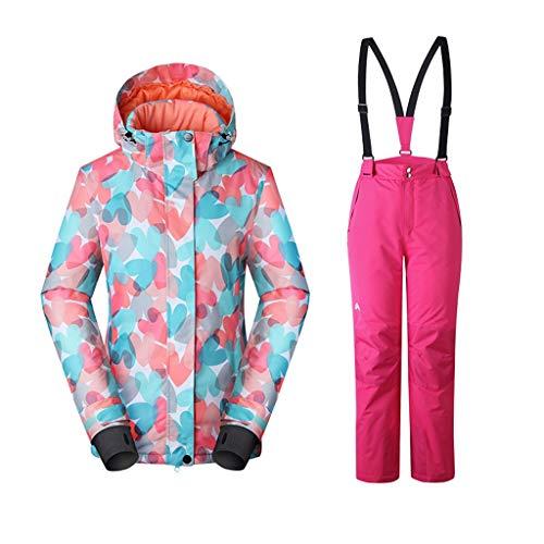 NYKK Skianzug Skifahren 2-teiliges Colorblock Schnee Hose und Jacke Snowsuit Skianzug wasserdicht Winddicht Skijacke Bunte Unisex (Size : S Size)