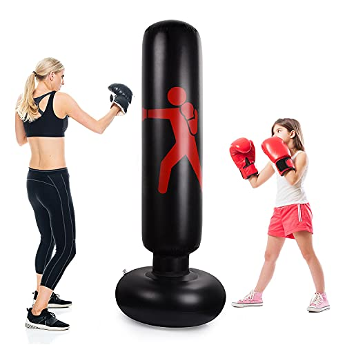 Ulikey Saco de Boxeo Inflable 160 cm, Saco de Boxeo de Pie Inflable Sacos de Arena de Boxeo Fitness, Saco de Boxeo con Bomba de Aire de Pie, para Niños y Adultos para Practicar Karate Taekwondo