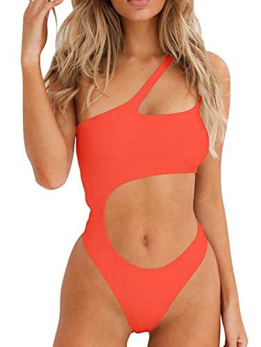 BEAGIMEG Women's Sexy One Shoulder Bathing Suit Cut Out One Piece Swimsuit Orange