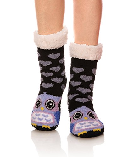 Womens Super Soft Cute Cartoon Animal fuzzy Cozy Non-Slip Winter Slipper Socks (Owl)