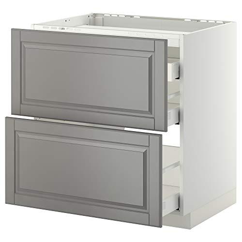 METOD/MAXIMERA cabina base f encimera/2 frentes/3 cajones 80x61.8x88 cm blanco/gris Bodbyn