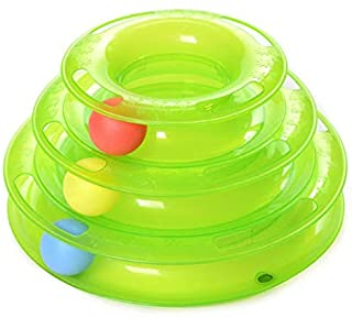 3Layers Funny Cat Toys Crazy Ball Disk Anti-slip Interactive Amusement Plate Triple Turntable Play Disc Small Pet Toy