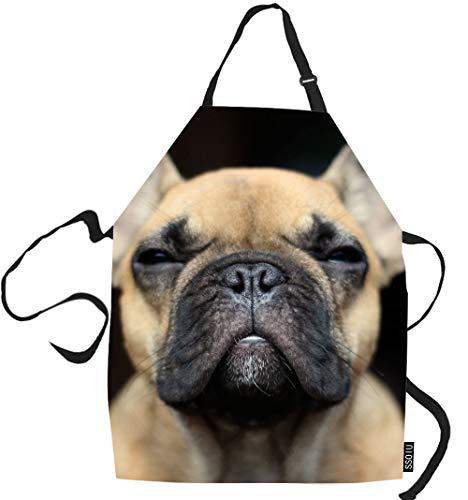 SSOIU Bulldog Cooking Apron, Funny French Bulldog Face Kitchen Apron For Baking/BBQ Men Women Unisex Waterproof 31X27 Inches