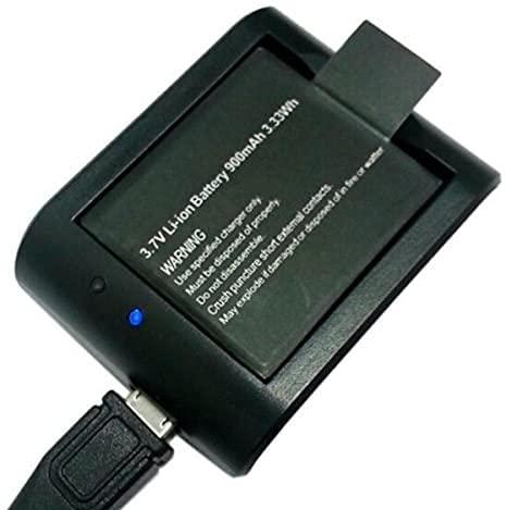 Theoutlettablet Cargador externo para cámara deportiva DV SJCAM SJ4000 SJ5000 Sport Cam - Excelvan - Elephone - Topjoy - Qumox - Topop - VicTsing - Pictek - Dbpower - Q5 - SK8 - EX5000 + 1 Batería reemplazo 900 mah