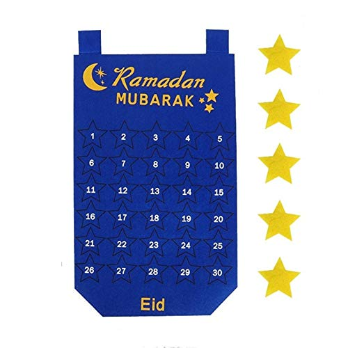 FUNSHINNY 2021 Newest Ramadan Mubarak 30days Adviento Calendario Colgando Cuenta Regresiva Calendario para Regalos para niños Ramadan Calendar (Color : Style 7)