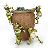 Yousiju 4 Unids/Set Creative Stimbing Frogs Bonsai Decorative Hang Frog Outdoor Garden Flowerpot Decoración para El Escritorio para El Hogar Adorno De Decoración De Jardín