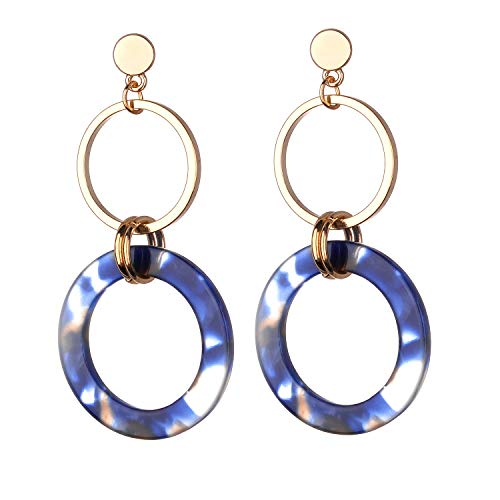Jones New York Gold Three Layers Round Blue Resin Acrylic Dangle Drop Earrings