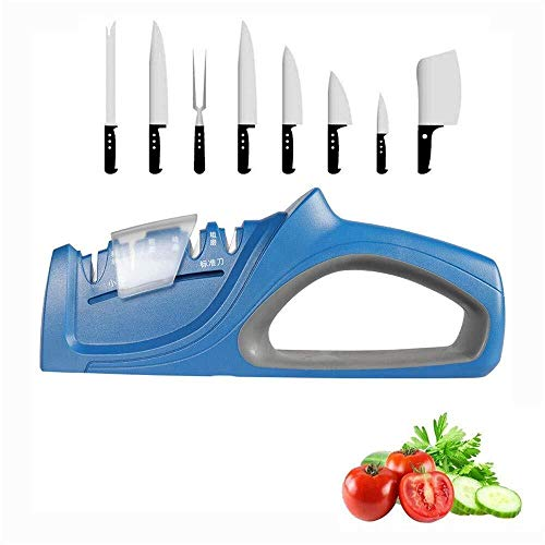 Whetstone Knife CS-MD Professional messenslijper Tungsten Steel Carbide Keramische anti-slip 4 Stages Sharp System messen slijpen Tool keukengerief-H 2,16 Inch Blue (Color : Blue, Size : ONE SIZE)