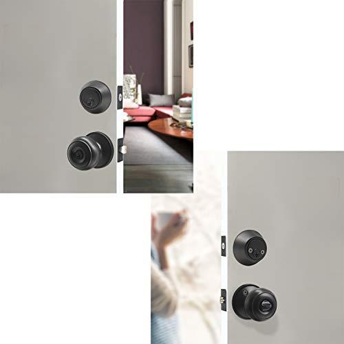 Set of 3 Entrance Door Knob with Double Keyed Deadbolt, Keyed Alike, Keyed Entry Locking Door Knobs with Keys, Cylinder Deadbolt Door Knob Lockset, Matte Black