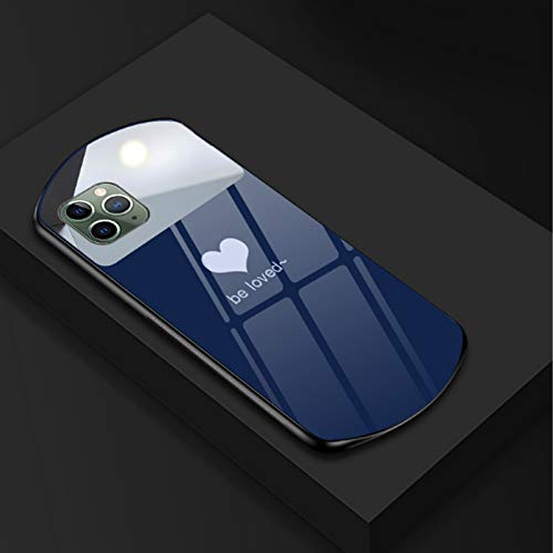 LODIIYAR Oval Heart Phone Case Tempered Mirror Glass Luxury Cute for iPhone 12 Mini 11 Pro MAX 7 8 X XR XS XSmax, Mirror Silicone Cover for iPhone 12Pro Blue