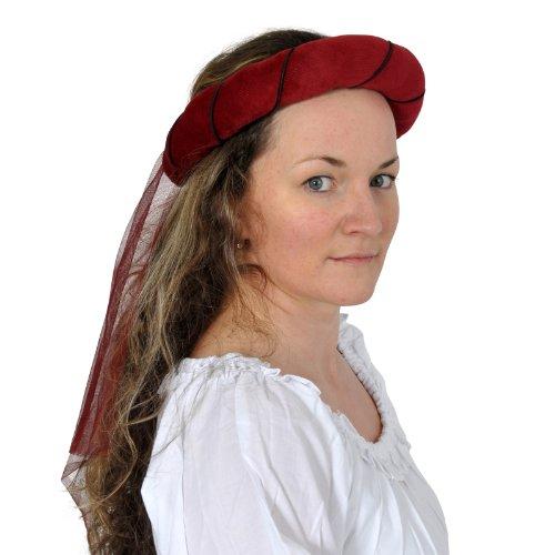 Ghirlanda medievale con velo - Decorazione medievale per il capo femminile - Accessorio LARP - Rosso