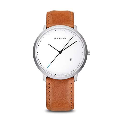 BERING Unisex Analog Quarz Classic Collection Armbanduhr mit Kalbsleder Armband und Saphirglas 11139-504