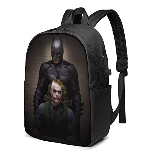 HuangYongHongPODFPO Dark Knight and The Joker Laptop Backpack- with USB Charging Port/Stylish Casual Waterproof Backpacks Fits Most 17/15.6 Inch Laptops and Tablets/for Work Travel School