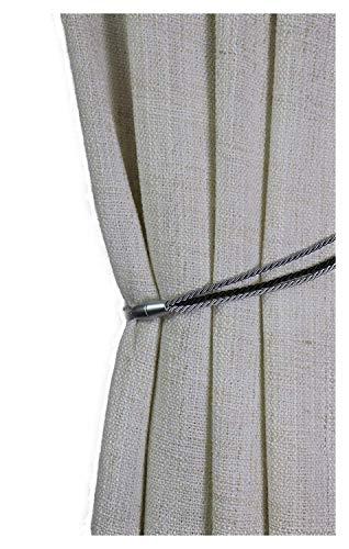 Gustav Gerster Raffhalter mit Magnet Gardinenhalter Vorhanghalter Gardinenschmuck Kordel Seidenoptik Spannweite 65 cm grau