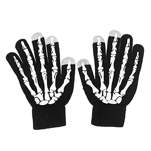 IMIKEYA Guantes de Esqueleto de Halloween Guantes de Hueso de Vestir para El Juego de Roles Devil Witch Finger Guantes de Pantalla Táctil Guantes de Punto de Invierno para Mujeres Y