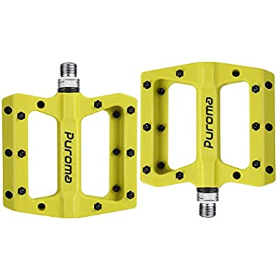 Puroma Mountain Bike Pedal Nylon Fiber Non-Slip 9/16 Inch Bicycle Platform Flat Pedals for Road Mountain BMX MTB Bike (Green)