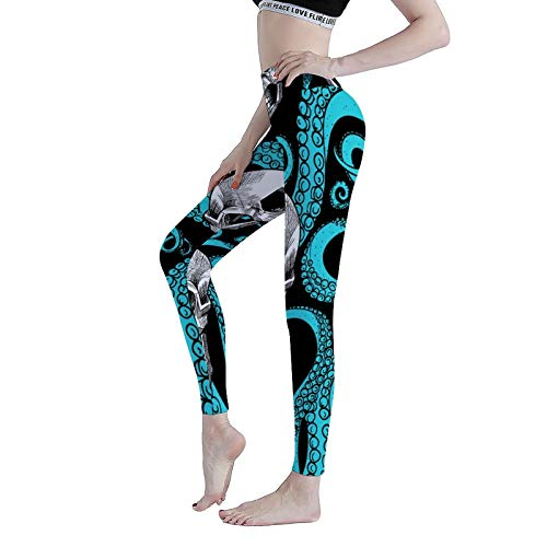 Leggings Blue Octopus Kraken Sugar Skull Women's Printed Xmas Sports Footless Yoga Pants Workout-L