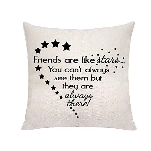 VAVSU Fundas de almohada de 45 x 45 cm, diseño de estrellas con texto en inglés 'Friends Are Like Stars'