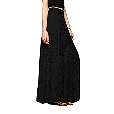 Naughtyspring Women's A-Line Vintage Elegant High Waisted Floral Lace Pleated Maxi Long Lace Skirt