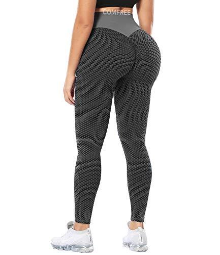 COMFREE Damen Push Up Leggings Waben Honeycomb Scrunch Butt Lifting Sportleggings Leggins Anti Cellulite High Waist Yoga Workout Butt Lift Schwarz L