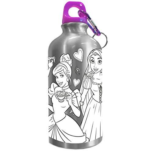 Disney Princesas Disney Botella cantimplora 500ml coloreable de Princesas, Multicolor, N/A