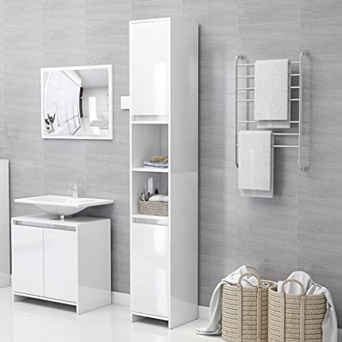 FAMIROSA Armario Cuarto de baño aglomerado Blanco Brillo 30x30x183,5 cm (25kg)