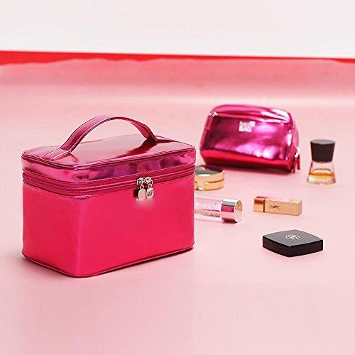 Sac cosmétique Liangpi à grande capacité 2pcs, étui cosmétique portatif portable , rose red