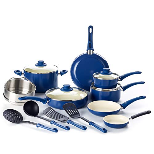 GreenLife Soft Grip 16 Piece Ceramic Non-Stick Cookware Set, Blue