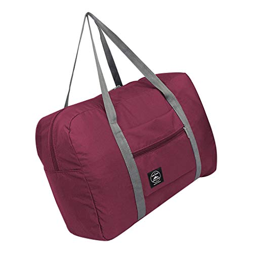 Weilifang Foldable Travel Storage Bag Portable Nylon Tote Luggage Case Luggage Case Suitcase Clothes Organizer, Wine Red