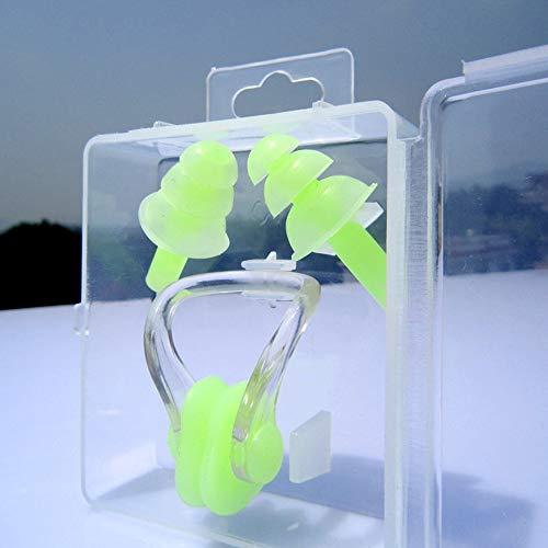 VOANZO 4 Stücke Silikon Schwimmen Ohrstöpsel Für Kinder Ohrstöpsel Und Nasenklammer Sets, Wasserdicht & Komfortabel Für Kinder Mädchen Jungen Babys Kleinkinder (grün)