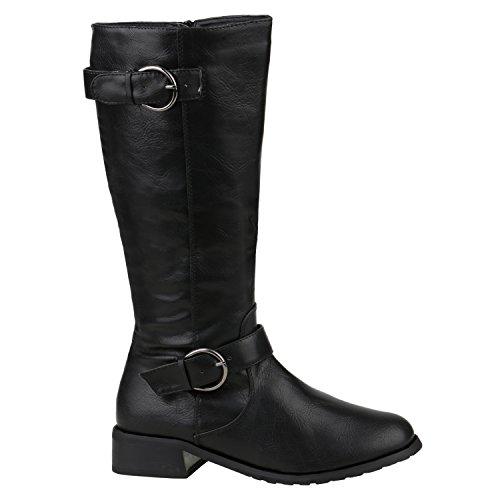 Gefütterte Damen Schuhe Stiefel Klassische Langschaft Boots 157019 Schwarz Berkley 36 Flandell