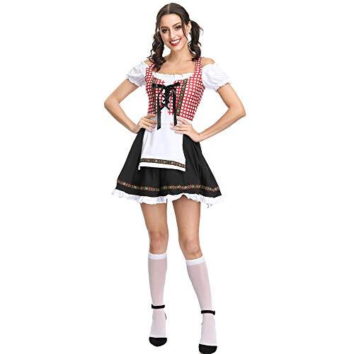 WANLOVE - Disfraz de sirvienta Francesa para Mujer, Disfraz Sexy de Halloween-Rosado_Metro
