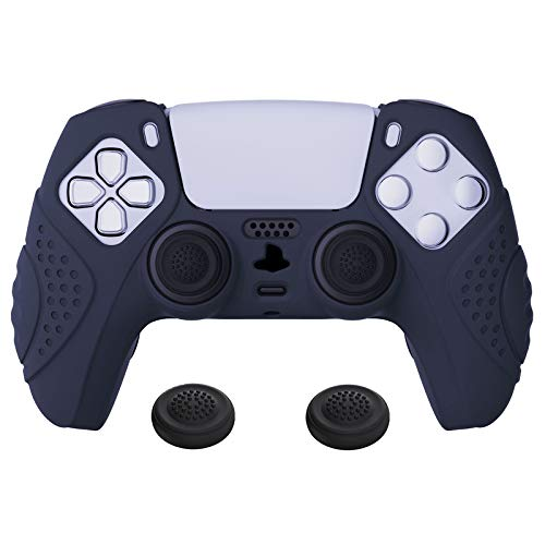 PlayVital Guardian Edition Midnight Blue Ergonomic Soft Anti-Slip Controller Silicone Case Cover, Rubber Protector Skins with Black Joystick Caps for PS5 Controller