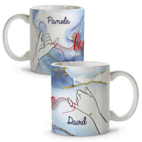 LolaPix Tazas Blancas Personalizadas con Frase/Nombre. Regalos San Valentin Personalizados. Tazas Personalizadas...