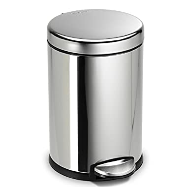 simplehuman 4.5 Liter/1.2 Gallon Compact Stainless Steel Round Bathroom Step Trash Can, Polished Stainless Steel