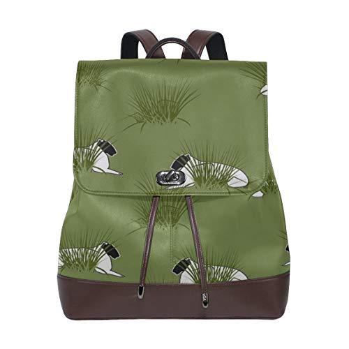 Textur Geschenkpapier Schaf Lämmer Rush Green Womens Leder Rucksäcke Travel Fashion Bag Kordelzug Wasserdichte Fashion Design Tasche Womans Fashion Bags