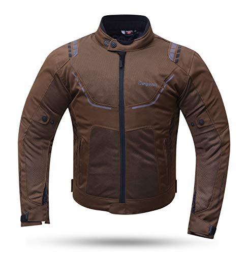 Degend Breeze Man - Ropa de Moto | Chaqueta Moto Hombre Impermeable y Transpirable - Talla M - Color Marrón