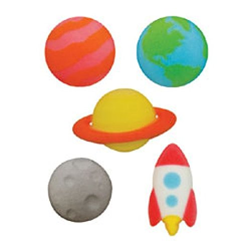 OUTER SPACE ASSORTMENT Rocket Planets Molded Sugar Topper Celebrate Cup Cake Cake Cookie toppers 12count