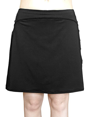 COCOSHIP Black Women's Multi-Purpose Swim Cover Up Bottom Athletic UPF 50+ Sports Skirt XL(FBA)