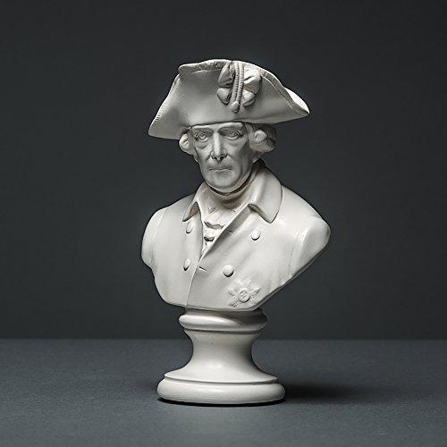 Friedrich II Skulptur aus hochwertigem Zellan, Friedrich der Große, Alter Fritz echte Handarbeit Made in Germany, Büste in weiß, 14cm
