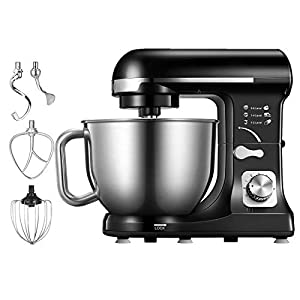 Stand Mixer, Aicok Dough Mixer 1000W with Double Dough Hooks, Whisk, Beater, Pouring Shield, 5L Stainless Steel Bowl, 6 Speed Tilt-Head Food Mixer, Kitchen Electric Mixer