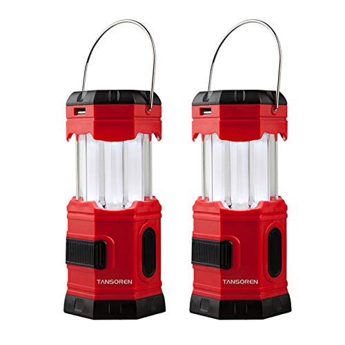 TANSOREN 2 Pack Portable LED Camping Lantern Solar USB Rechargeable or 3 AA Power Supply , Built-in Power Bank Compati Android Charge, Waterproof Collapsible Emergency LED Light with