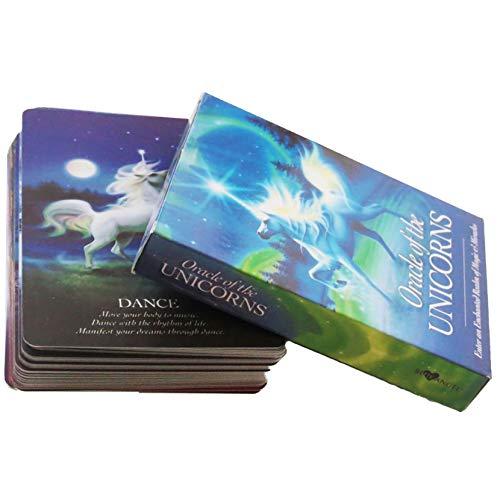 LPWCAWL Tarot Karten, Unicorns Oracle Cards, Englische Wahrsagen Spielkarte, Brettspiele für Erwachsene und Kinder, 44 Karte