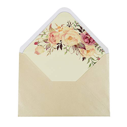 Doris Home 36pcs A-7 Pearl Beige 5X7 Envelopes for Wedding Invitations, Greeting Cards, Photos, Announcements (5.3 x 7.7 inch) (Flower)