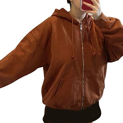 wenyujh Hoodie Jacke Damen Sweatshirt Kapuzenpullover mit Reißverschluss Langarm Kurzmantel Outwear Freizeitjacke Coat für Frauen(Braun,L)