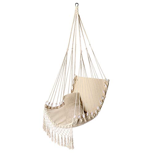 Hangmat Stoel Swing, Max Load 150Kg White Canvas Rocking Seat, Oversized Opknoping Touw Chair, Soft Lekker Sterke Kind Volwassen Hangzitje