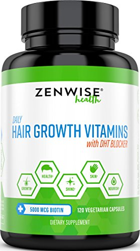 Zenwise Hair Growth Vitamins - 5000 mcg Biotin & DHT Blocker Hair Loss Treatment for Men & Women - 2 Month Supply - Vitamin A & E to Stimulate Faster Regrowth + Care for Damaged Hair - 120 Pills